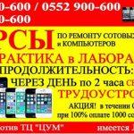 Курсы по ремонту сотовых телефонов и компьютеров в Бишкеке
