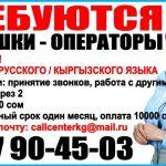В коллцентр компании требуются девушки операторы. со знанием кыргызского, русского языка.